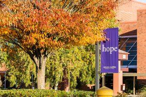 Hope banner outside of Helen Hayes Hospital
