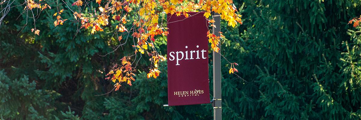 Spirit banner on the Helen Hayes Hospital campus