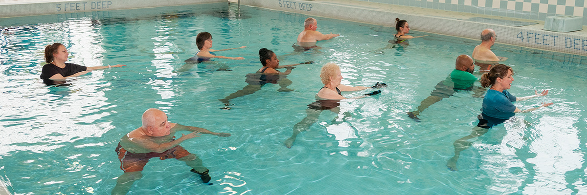 Patients in aquatic therapy pool