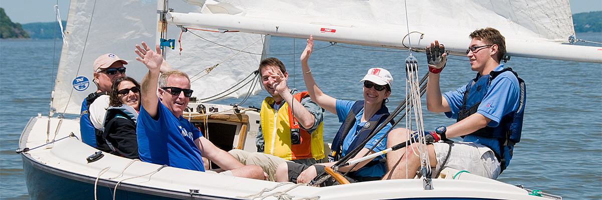 Adapted sports group sailing on the Hudson River