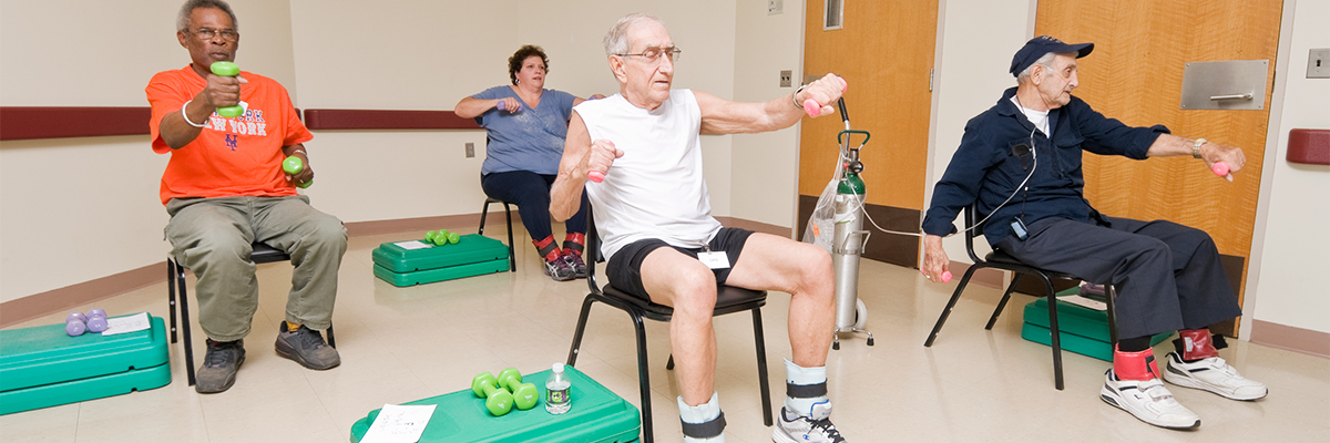 Patients participating in pulmonary rehabilitation with hand and ankle weights